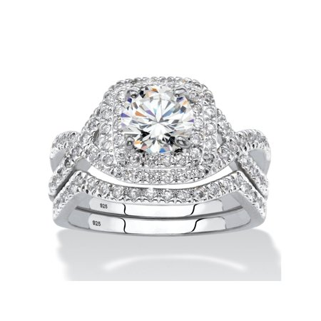2.20 TCW Round Cubic Zirconia Two-Piece Double Halo Bridal Ring Set in Platinum over Sterling Silver