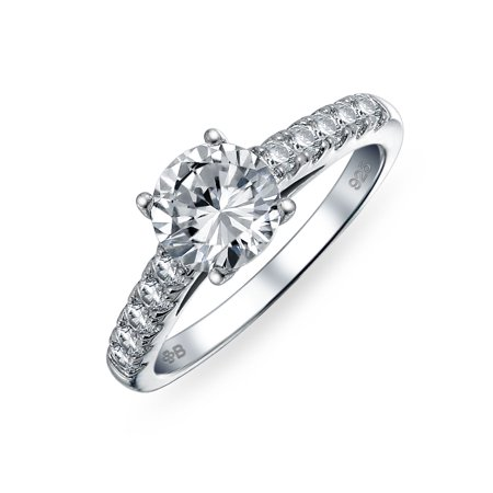 Personalized 1.75CT Round AAA CZ Solitaire Engagement Ring Set Cubic Zirconia 925 Sterling Silver Custom Engraved ()