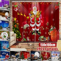 2PCS Christmas X-mas Theme 3D Print Window Curtain Christmas Santa Claus 3D Print Door Screen Door Curtain for Christmas Festival Holiday Gift Home House Party Christmas Decoration