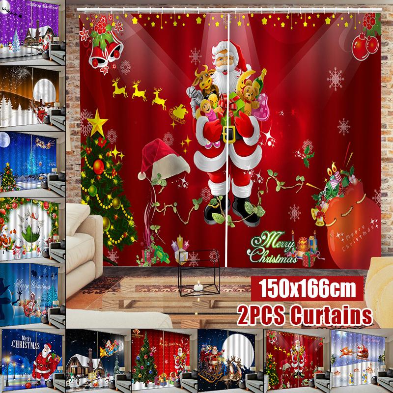 2Panel 3D Print Christmas Castle Window Curtain Door Screen Panel Xmas Decors