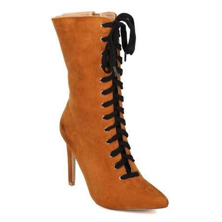 2de9d676d97 Cape Robbin - Women Lace Up Stiletto Boot - Mid Calf Heel Boot - Pointy Toe  Boot - HK56 By Cape Robbin - Walmart.com