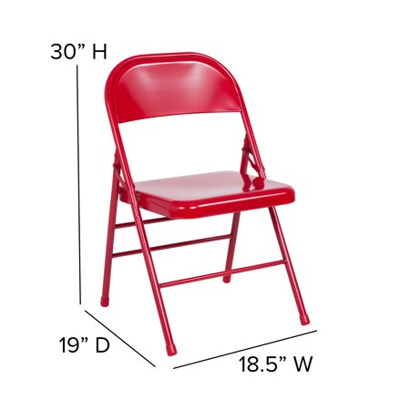 Flash Furniture 2 Pk. HERCULES Series Triple Braced & Double Hinged Red Metal Folding Chair