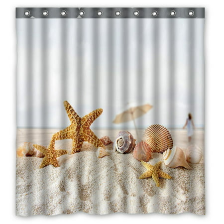 Sea Shower - GCKG Star Fish Sea Shell Beach Waterproof Polyester Shower Curtain and Hooks Size 66x72 inches
