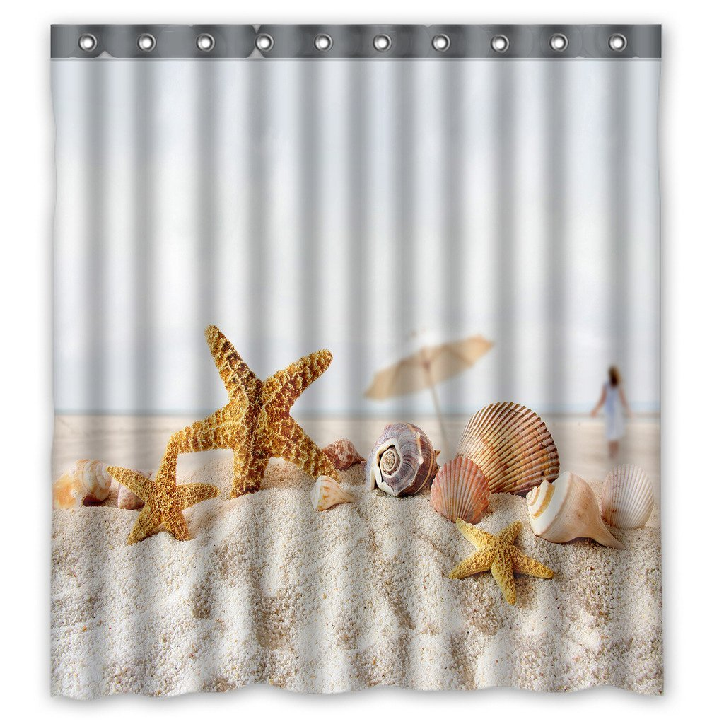 GCKG Star Fish Sea Shell Beach Waterproof Polyester Shower Curtain and Hooks Size 66x72 inches