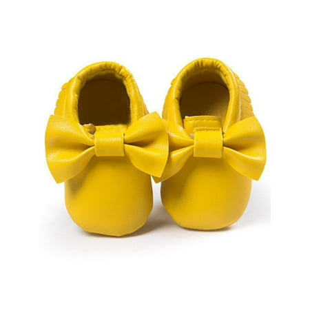 Babula Baby Girl Bowknot Fringed Kids Leather Soft Soled Crib Shoes