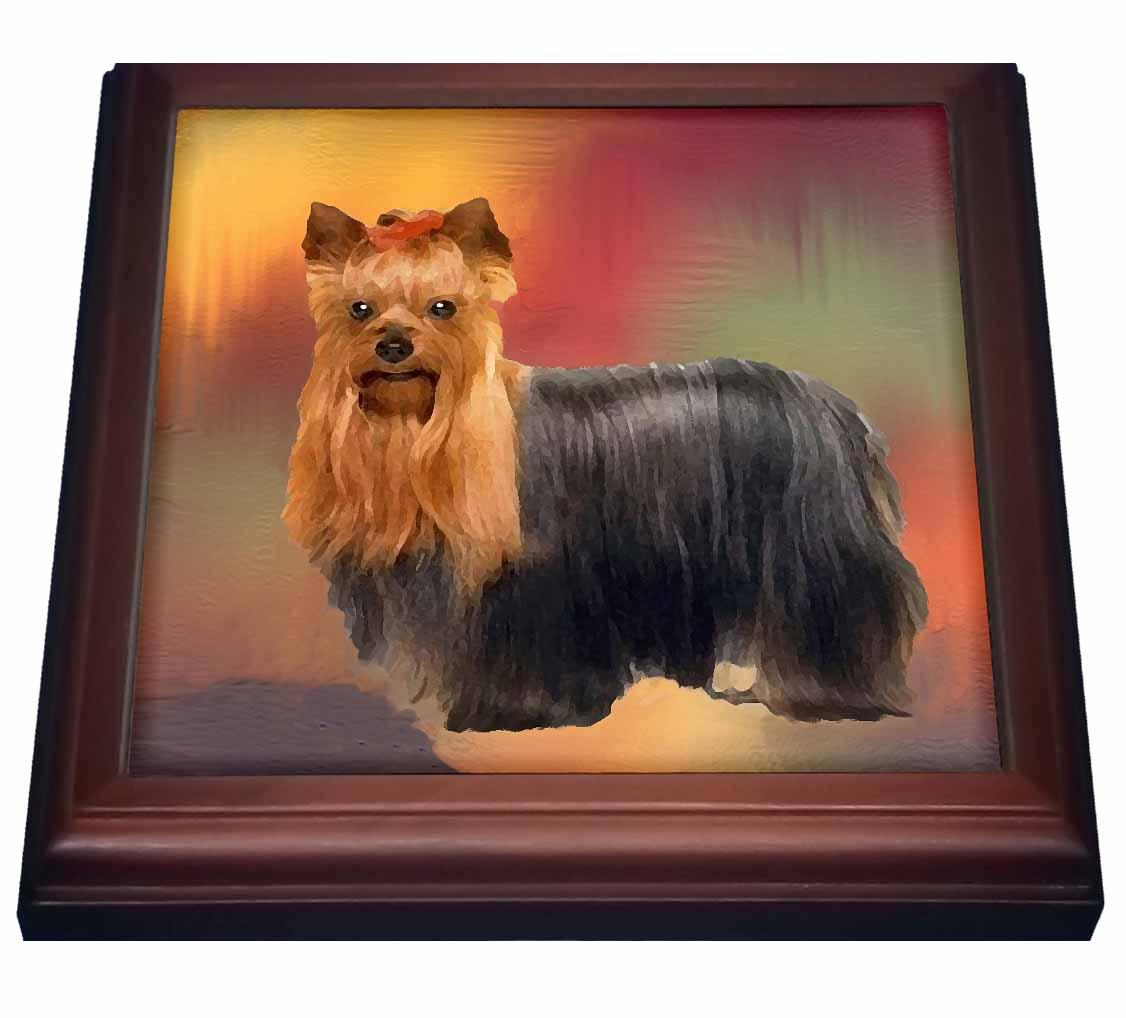 3dRose Yorkshire Terrier, Trivet with Ceramic Tile, 8 by 8-inch