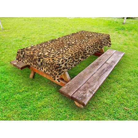 Brown Outdoor Tablecloth, Leopard Print Animal Skin Digital Printed Wild African Safari Themed Spotted Pattern Art, Decorative Washable Fabric Picnic Tablecloth, 58 X 104 Inches, Brown, by Ambesonne - Animal Print Tablecloth