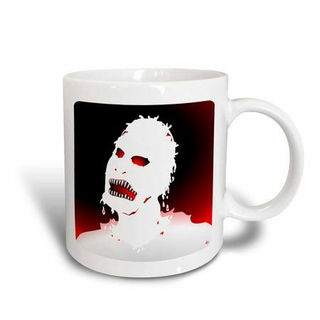 3dRose ZOMBIES white zombie 1 on white, Ceramic Mug, 15-ounce