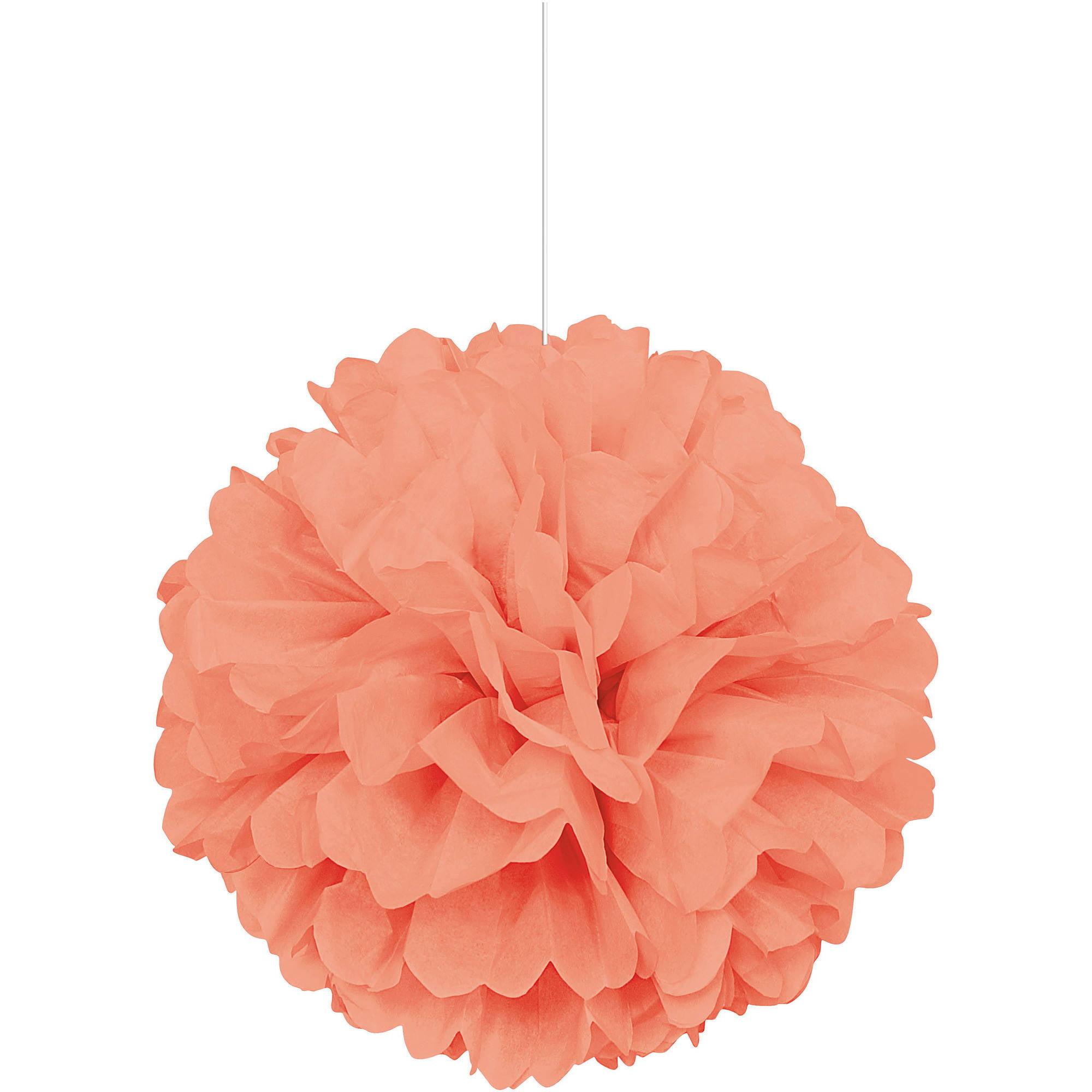 Tissue Paper Pom Pom, 16 in, Coral, 1ct