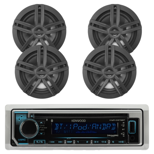"New Kenwood Outdoor Marine Boat /Car ATV AM/FM Radio CD/MP3 USB iPod iPhone Pandora Stereo Player with 4 New 6.5"" Inch Black Marine Speakers System - Great Marine Audio Package"