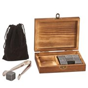 Creative Gifts 069407 Wood Box with Tongs, 9 Whiskey Stones & Pouch