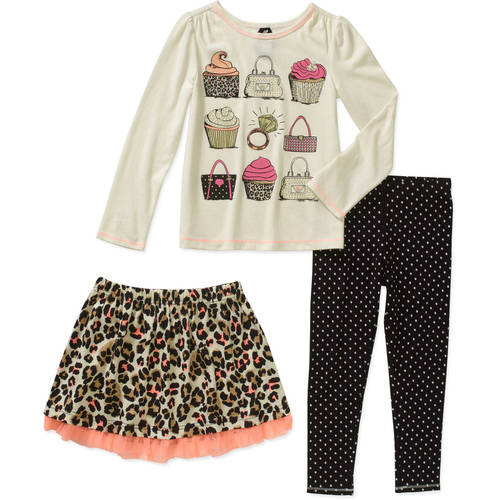 Healthex Girls' Top, Skirt, and Ankle Legging 3 Piece Set