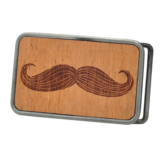 Buckle Rage Moustache Mustache Real Wood Rounded Rectangle Belt Buckle, ANTIQUE SILVER, W1001-162-ATS