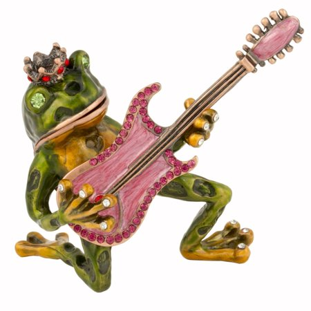 Bejeweled Frog - Luxury Giftware by Jere Frog with Guitar Austrian Crystal Trinket Box