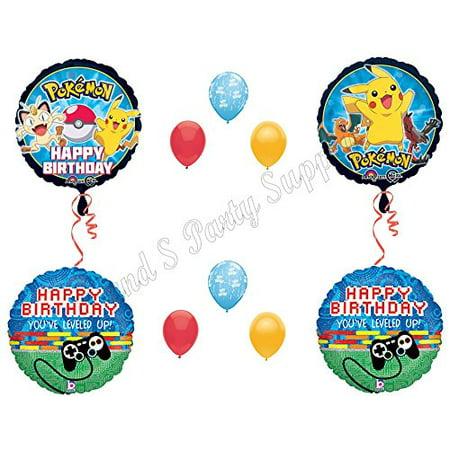 10 PIECE POKEMON GO Birthday Party Balloons Decoration Supplies Pikachu - Pikachu Birthday Supplies