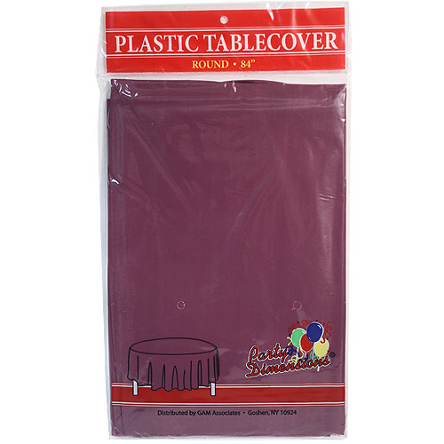 "Burgandy  84"" Round Plastic Disposable Party  Tablelcoth"
