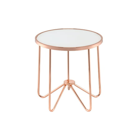 ACME Alivia White Glass End Table, Rose Gold Base, 22