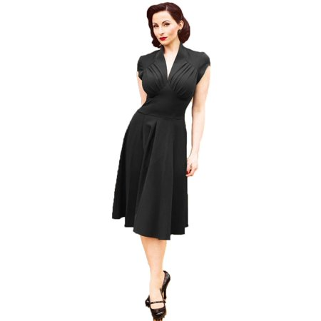 Women Vintage Style Flared Pleated Elegant Swing Retro Pinup Part Dress