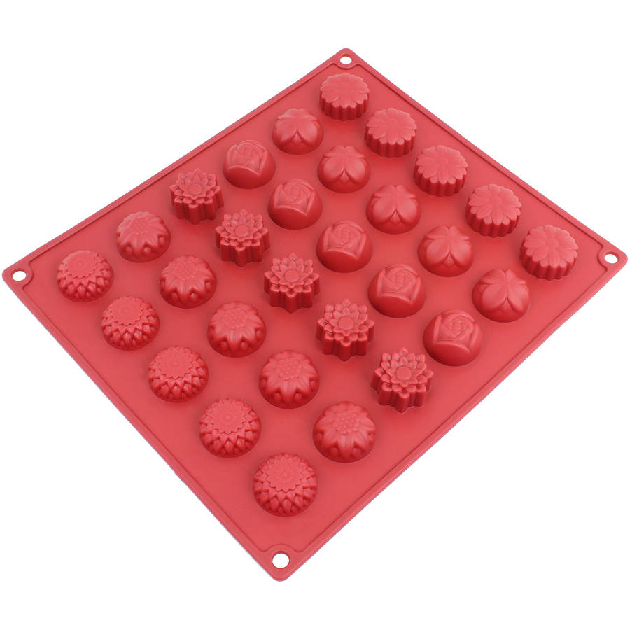 Freshware 30-Cavity Spring Flower Silicone Mold for Chocolate, Candy, Gummy and Jelly, CB-120RD