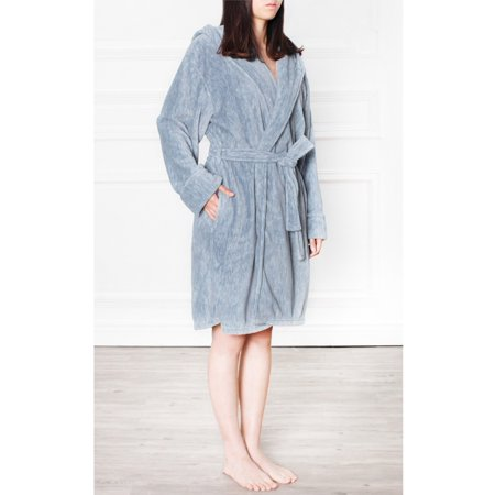 (Premium Women's Fleece Hooded Robe Bathrobe by Pavilia | Super Soft, Side Pockets, Lightweight Microfiber, Luxurious (Navy)(Small/Medium))