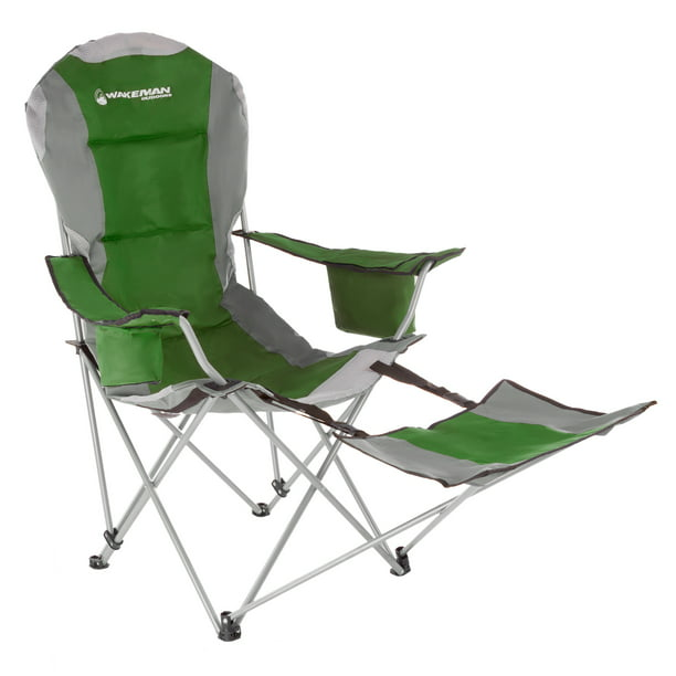 Camp Chair With Footrest 300lb Capacity Recliner Quad Seat Cup Holder Cooler Carry Bag Tailgating Camping Fishing By Wakeman Outdoors Green Walmart Com Walmart Com