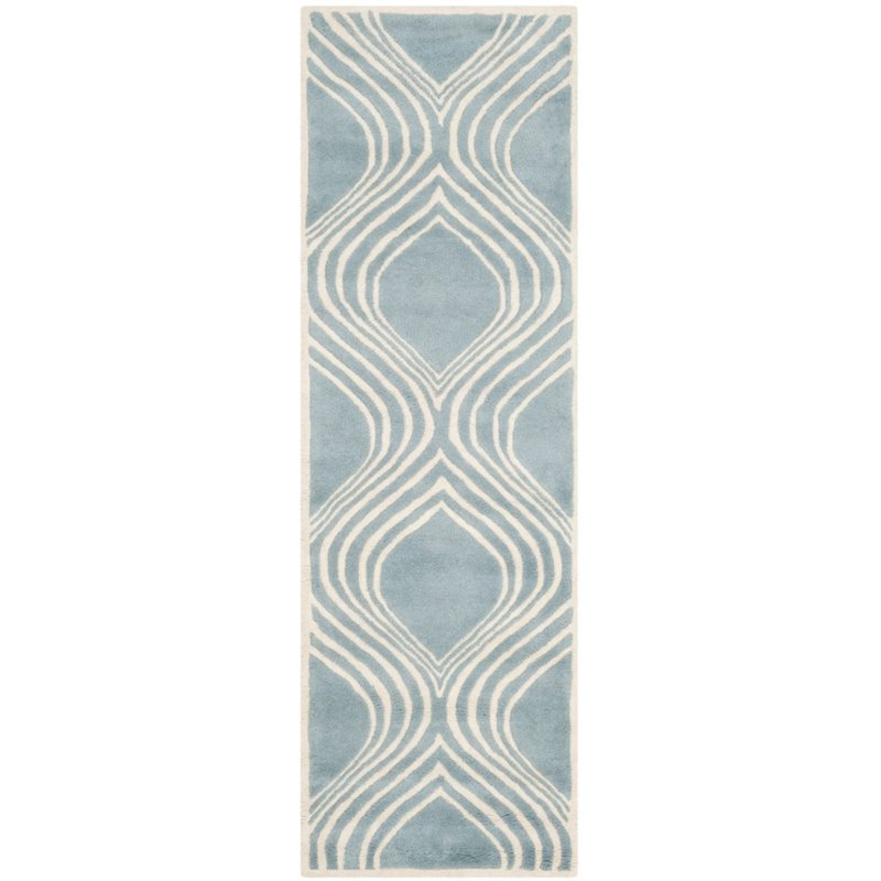 """Safavieh Chatham 2'3"""" X 7' Hand Tufted Wool Rug in Blue and Ivory - image 3 of 9"""