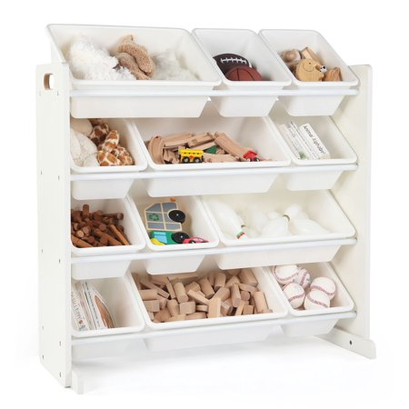 Tot Tutors Cambridge Collection Kids Toy Storage Organizer with 12 Plastic Bins, White