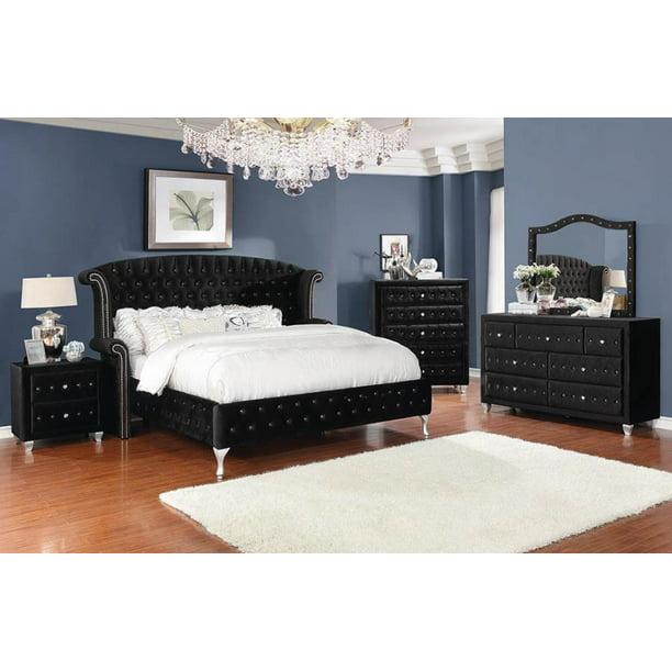 4pc California King Size Bed Contemporary Black Velvet Finish Bedroom Furniture Walmart Com Walmart Com