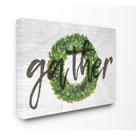 The Stupell Home Decor Collection Gather Boxwood Wreath Typography Oversized Stretched Canvas Wall Art, 24 x 1.5 x 30