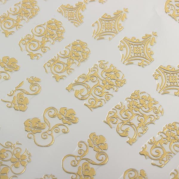 DANCINGNAIL 108pcs /Sheet Metallic Flowers Gold 3D Nail Art Stickers Decals  Mixed Designs - Walmart.com