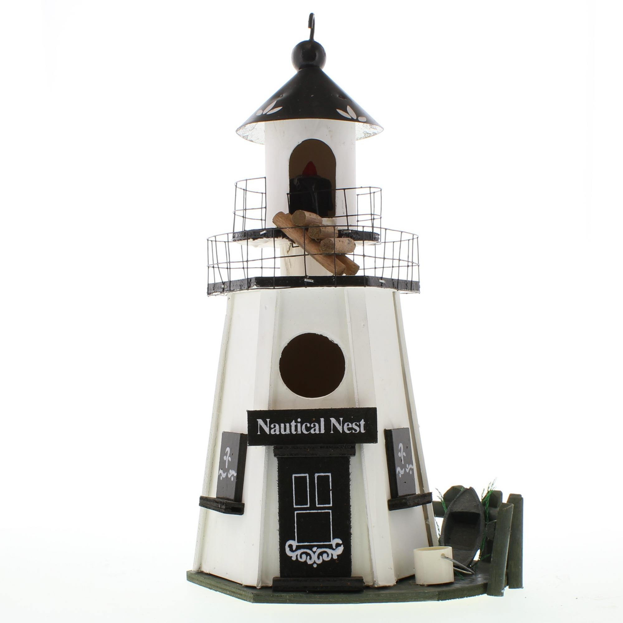 Chickadee Bird House, Metal And Wood Lighthouse Bird Houses Outdoor