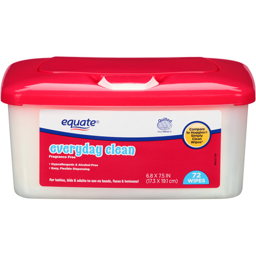 Equate Everyday Clean Fragrance Free Wipes, 72 sheets