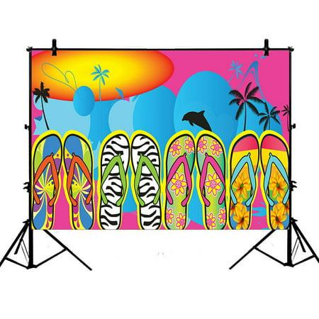 ZKGK 7x5ft Beach Flip Flops Polyester Photography Backdrop For Studio Prop Photo Background