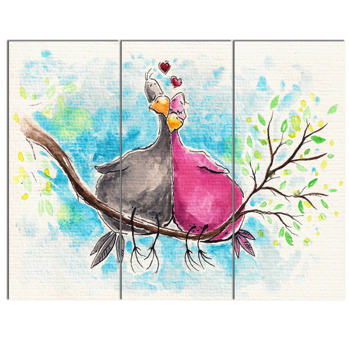 Design Art 'Two Birds in Love on Branch' 3 Piece Wall Art on Wrapped Canvas Set