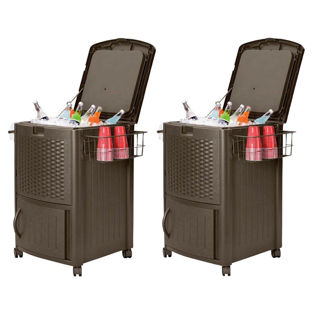 Suncast 77 Qt Resin Wicker Patio Cooler w/ Cabinet & Wire Basket, Java (2 Pack)