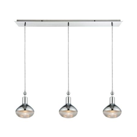 Elk Lighting Ravette - Three Light Linear Pendant, Polished Chrome Finish with Clear Ribbed Glass