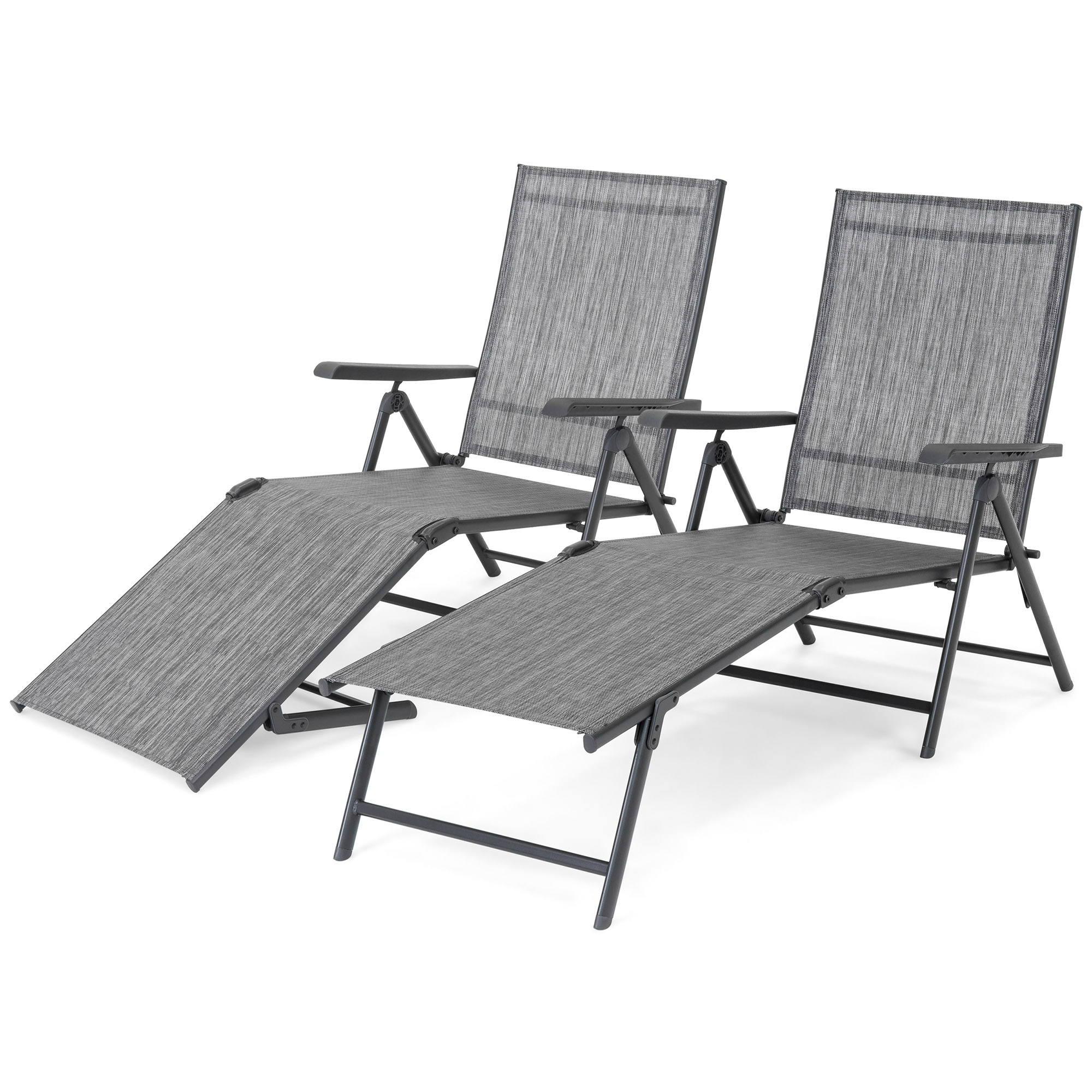 Best Choice Products Set of 2 Outdoor Patio Portable Adjustable Chaise Lounge Recliner Chair Furniture w  Armrests -Gray by Best Choice Products
