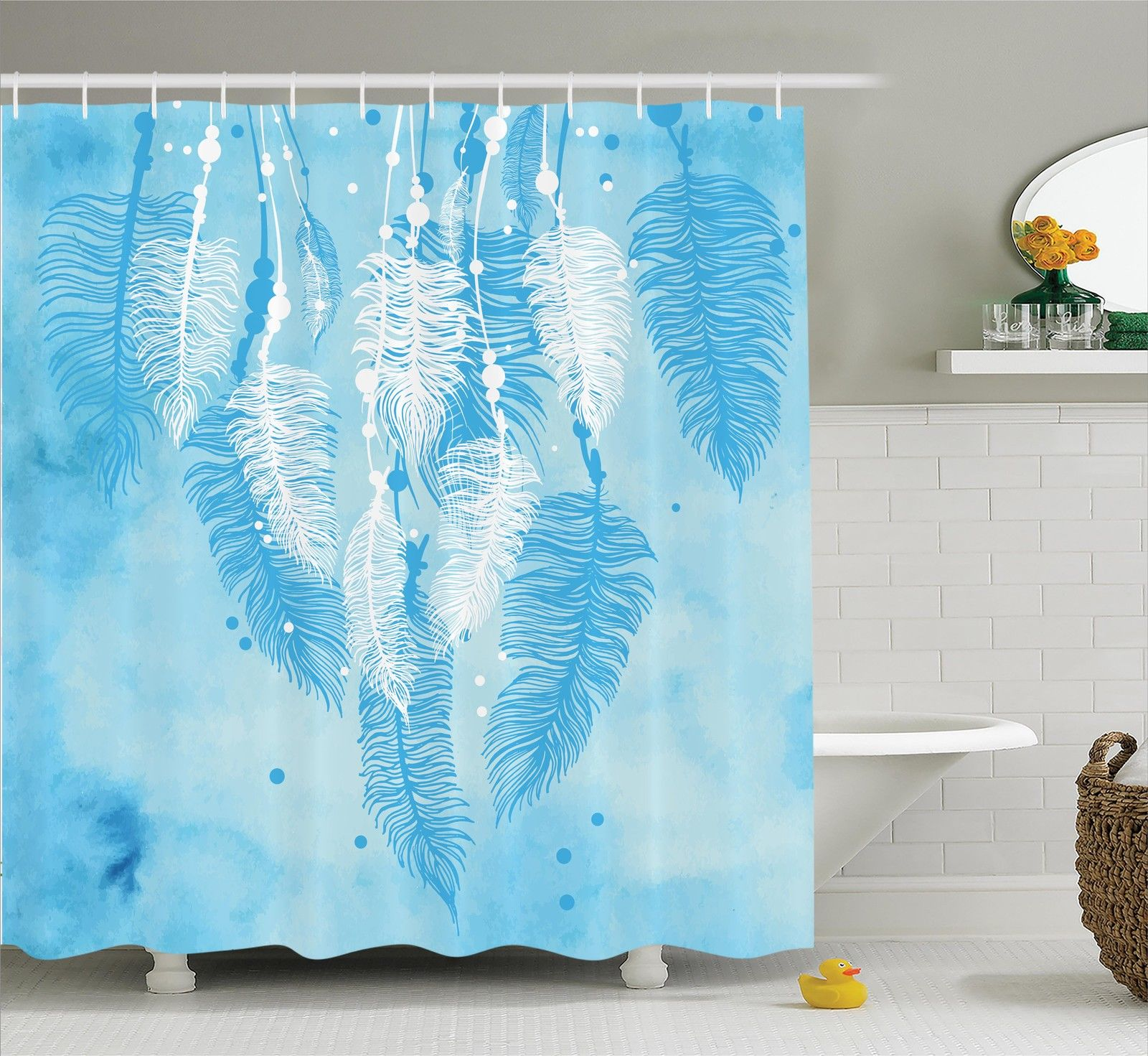Apartment Decor  Watercolors Style Digital Made Feather H...