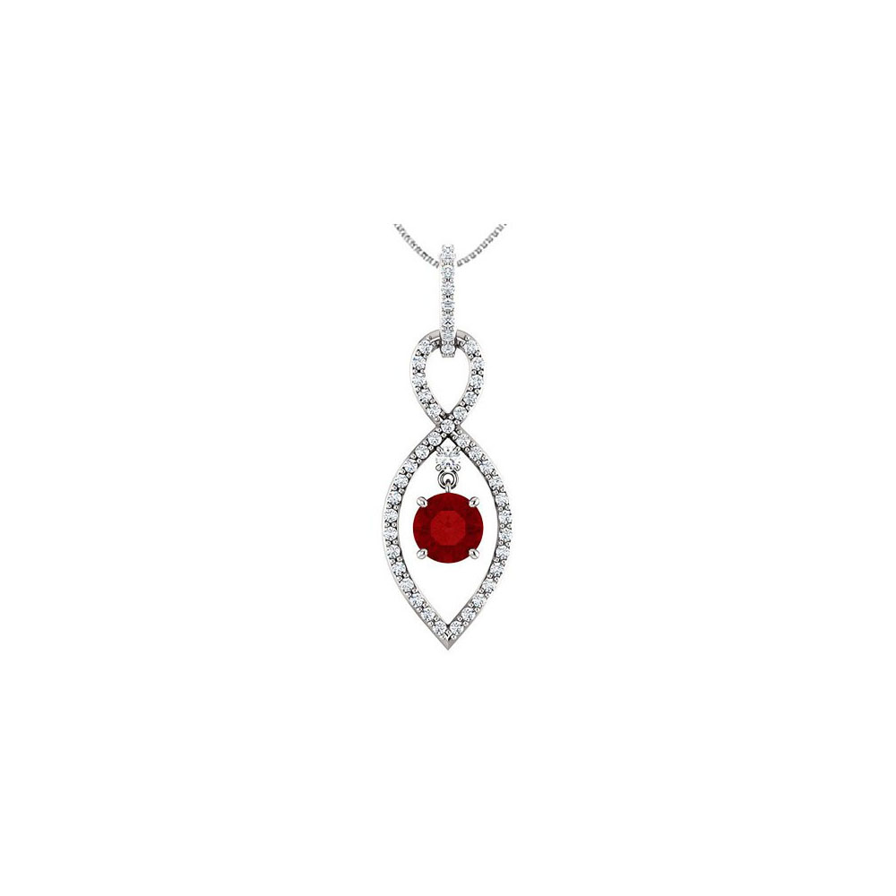 Cubic Zirconia Infinity Inspired Pendant in Sterling Silver with Created Ruby of 1.50 Carat TGW - image 2 de 2