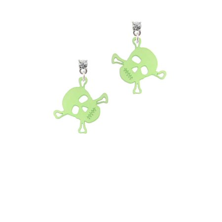 Acrylic Small Lime Green Skull Clear Crystal Post Earrings - Lime Green Zoot Suit