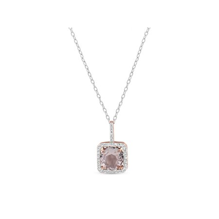 White Gold Square Pendant (9mm Round Simulated Morganite with White CZ 18kt Rose Gold over Sterling Silver Square Halo Pendant,)