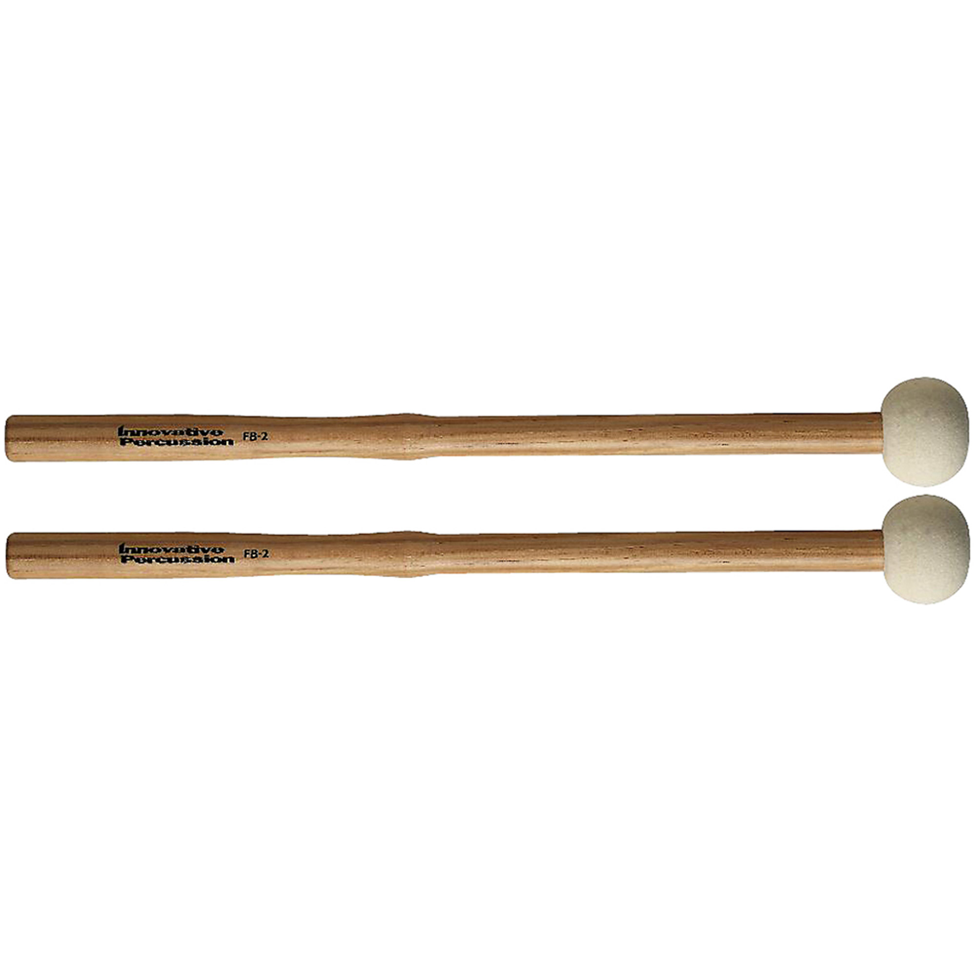 Innovative Percussion FB2 Hard Marching Bass Drum Mallets w  Heartwood Hickory Shafts by Innovative Percussion