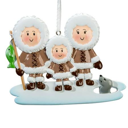 Eskimo Family Ornament, Family of (American Eskimo Ornament)