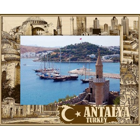 Antalya Turkey Laser Engraved Wood Picture Frame (5 x 7) (Turkey Picture Frame)