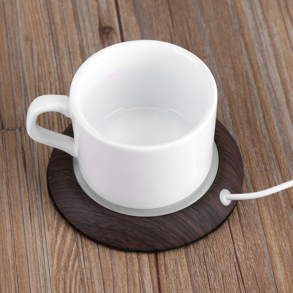 DOACT USB Wood Grain Cup Warmer Heat Beverage Mug Mat ...