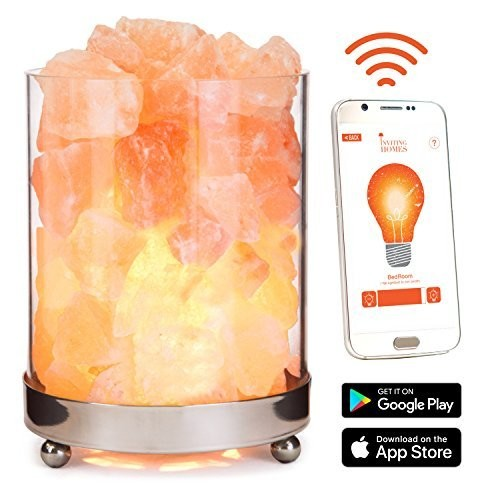 INVITING HOMES Natural Himalayan Salt Lamp in Clear Glass Holder with Optional Stainless Steel Base & Optional WiFi , Dimmable Switch, 6ft UL-Listed Cord, and 15-Watt Light Bulb