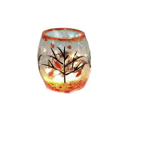 Stony Creek Small Crackle Glass Vase - Autumn Tree