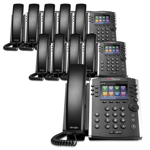 "Polycom VVX 401 Corded Voice Over IP Business Media Phone (12 Line PoE) 10 pack w  3.5"" TFT by Polycom"