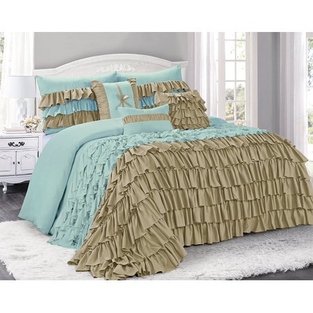 Unique Home 7 Piece BRISE Double Color Clearence Ruffled Comforter Set-Queen King Cal.King Size (King,Taupe/Blue) 4 Piece Cal King Comforter