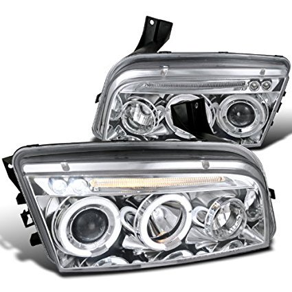 Spec-D Tuning LHP-CHG05-TM Dodge Charger Angel Eyes Chrome Clear Led Projector Head Lights